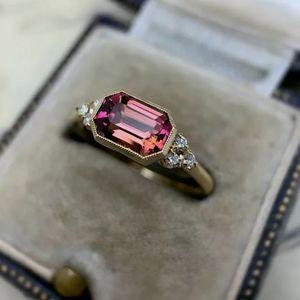 Ruby Ring w/ White Topazes, 14K Gold Plating